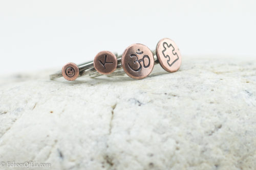Personalized dainty stacking ring in mixed metal